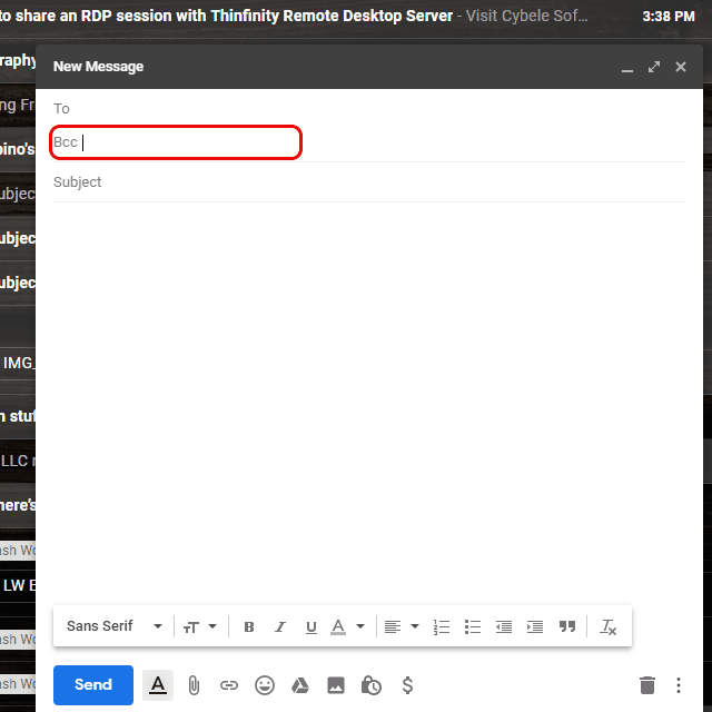 Screenshot of the Bcc field in an email in Gmail