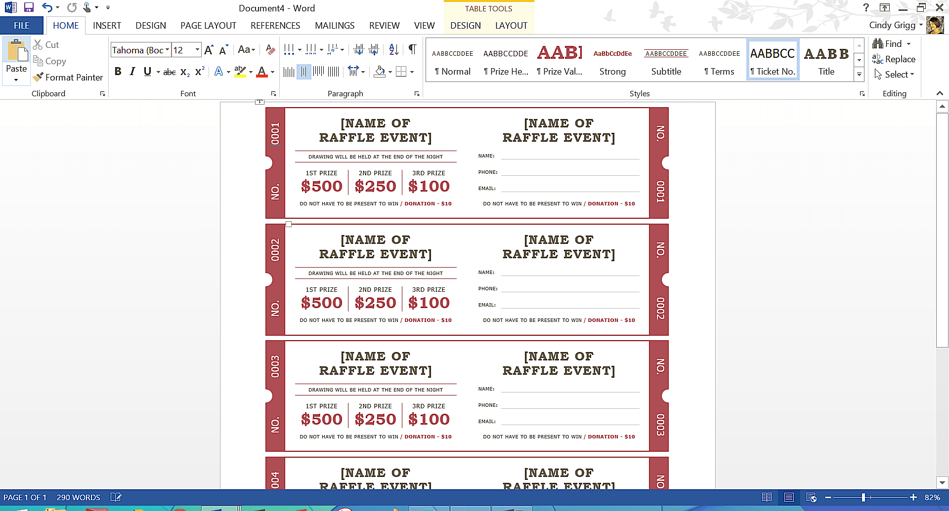 template for tickets with stubs