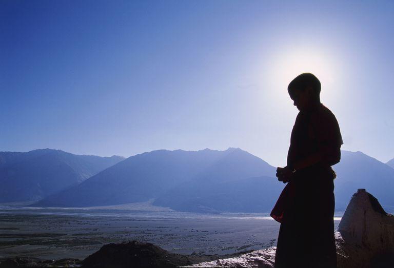 Monje budista meditación