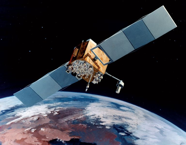 A rendering of the Navstar-2F satellite of the Global Positioning System