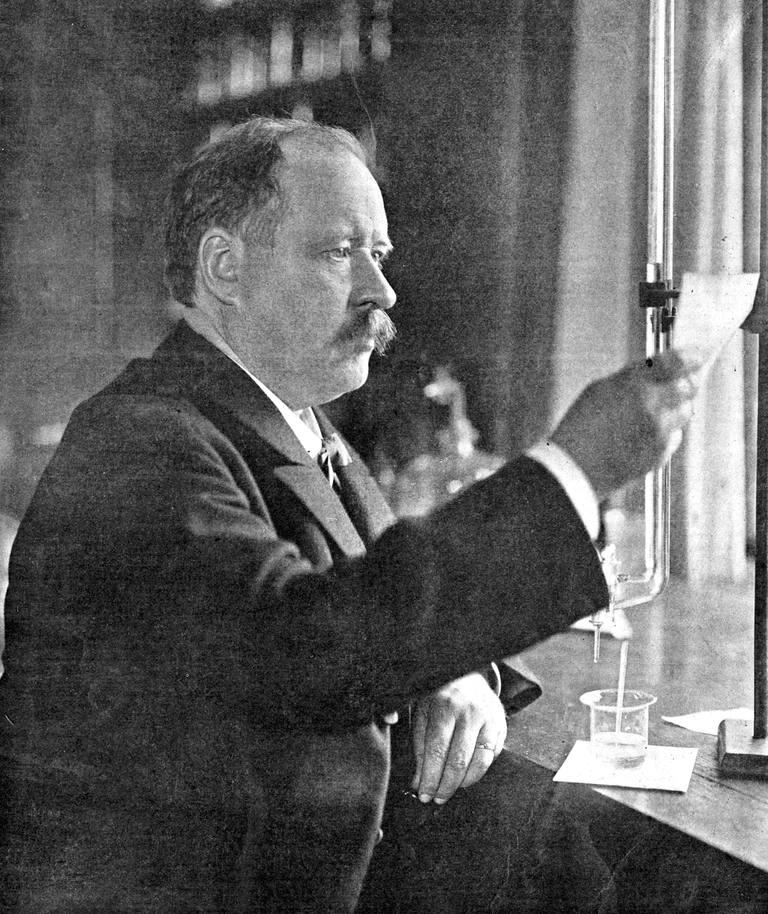Svante Arrhenius (1859-1927), Swedish physicist and chemist in his laboratory, 1909.