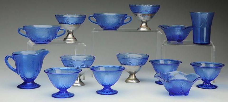 "Royal Lace ""Ritz Blue"" Depression glass by Hazel Atlas Glass Co."