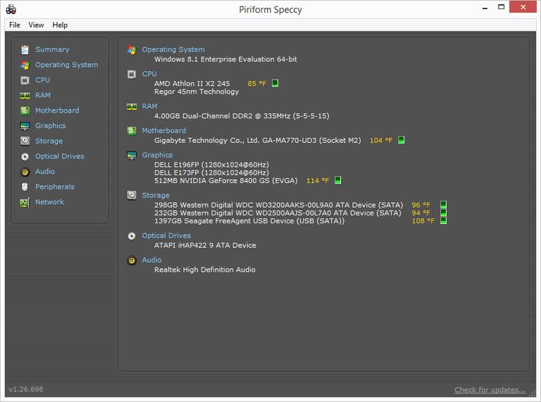 Screenshot of Speccy in Windows 7