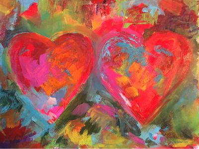 Paint Abstract Hearts In The Style Of Jim Dine