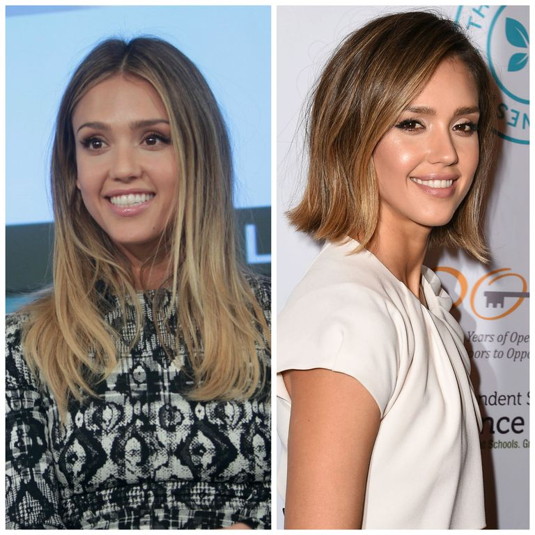 22 medium length hairdos perfect for thick or thin hair jessica alba with two haircuts winobraniefo Choice Image