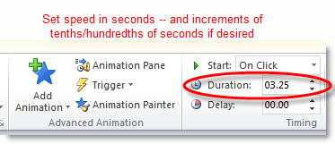 Set the precise speed of the animation on the PowerPoint slide