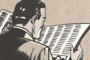 Cartoon man with newspaper