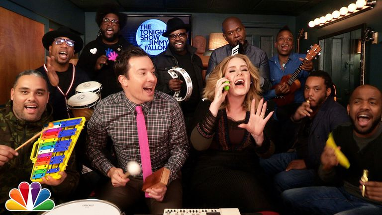 Jimmy Fallon and Adele sing 'Hello' on classroom instruments.
