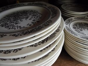 stack of Transferware Dishes