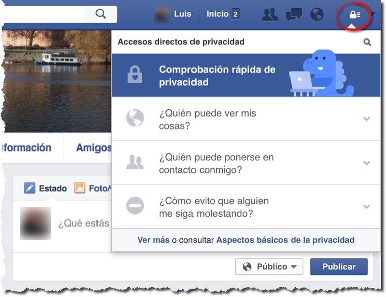 Opciones rápidas de privacidad de Facebook