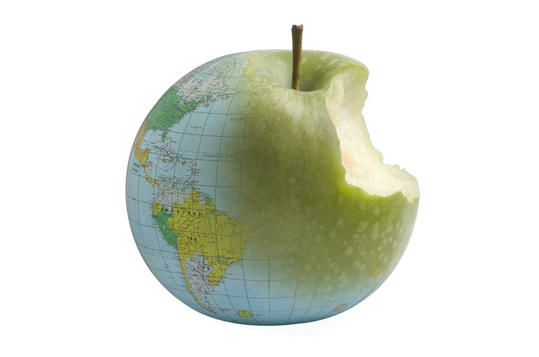 Globe in shape of apple