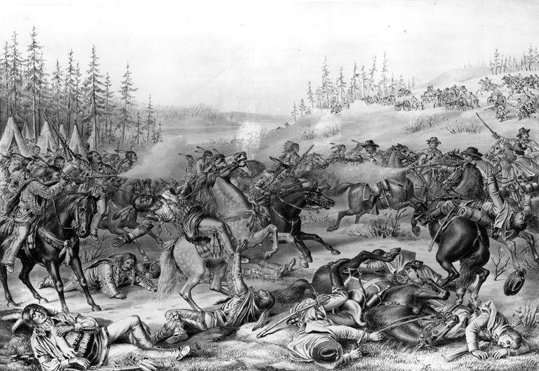 Illustration of the killing of Sitting Bull in 1890