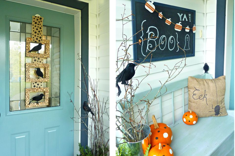 halloween porch with black crows