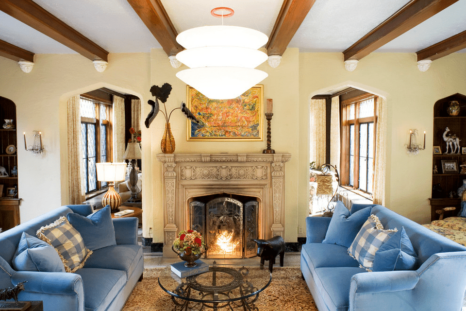 Living room with carved fireplace
