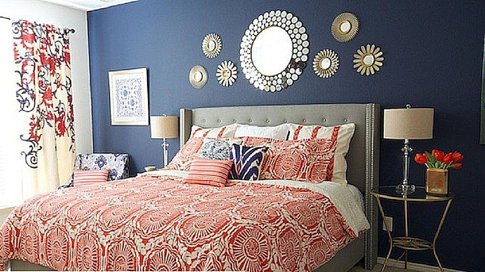 Navy, Orange and Gray Bedroom