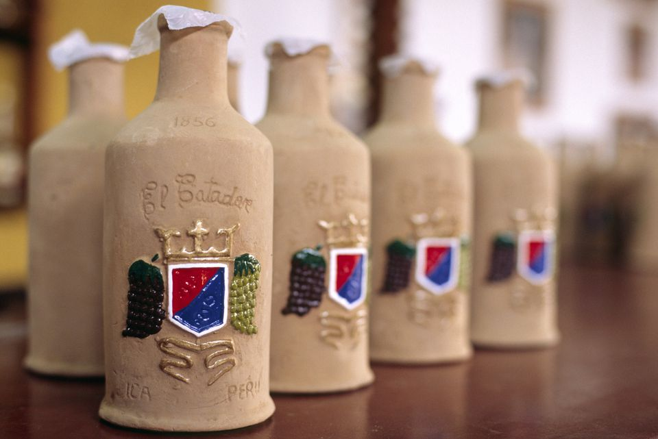Bottles of Peruvian pisco