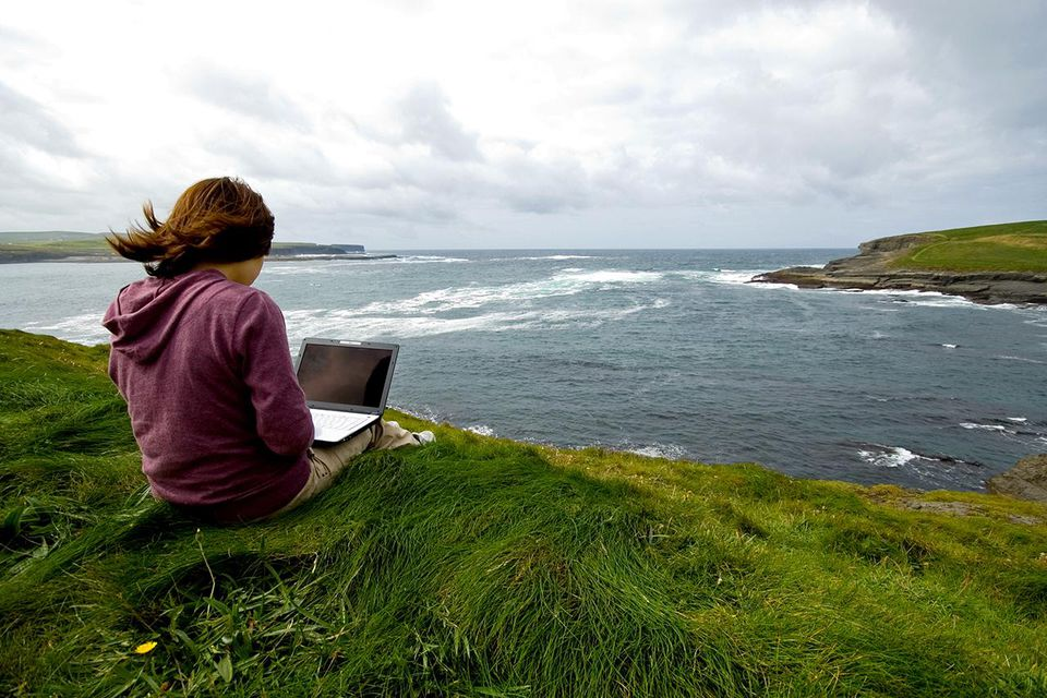 Working outdoors in Ireland, batteries fully charged