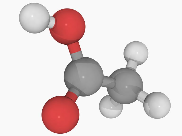 This is the chemical structure of acetic acid, the primary ingredient in vinegar. The gray atoms are carbon, red are oxygen, and white are hydrogen. There is a double bond between the carbon and the bottom oxygen.