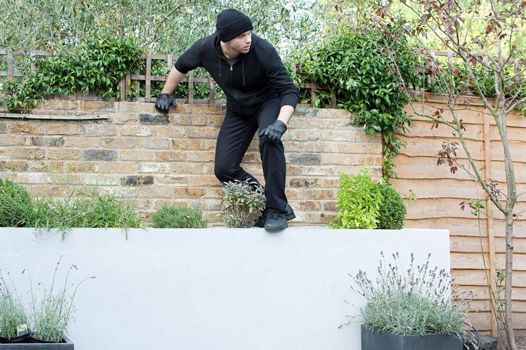 Burglar climbing on wall