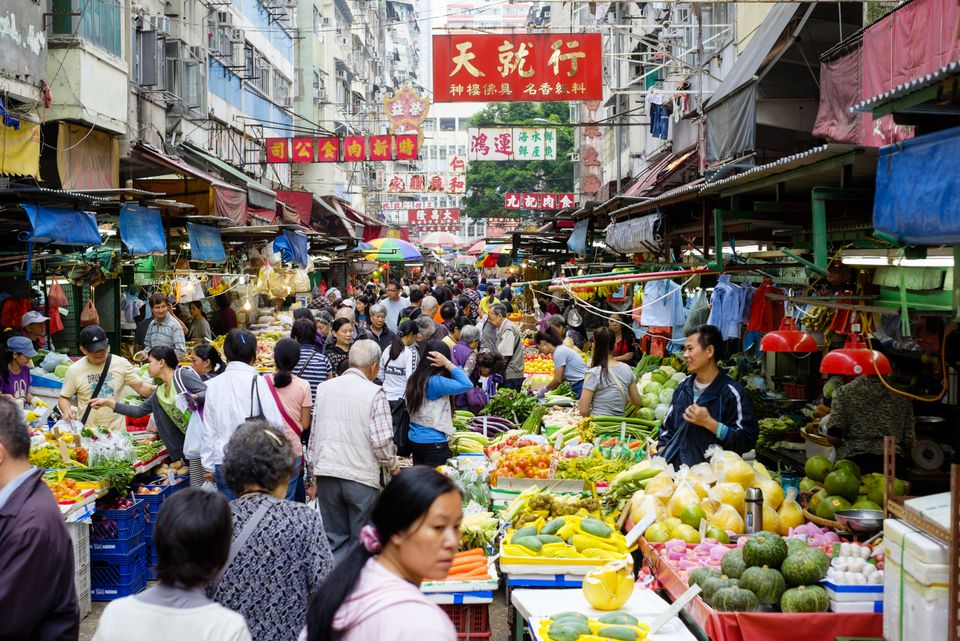 A busy market in Hong Kong