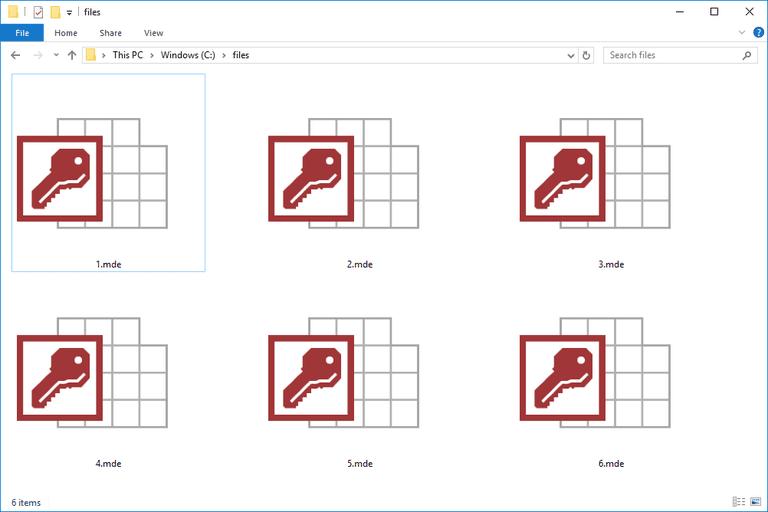 Screenshot of several MDE files in Windows 10
