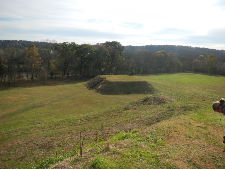 Mississippian Mound C at Etowah, seen from the top of Mound A
