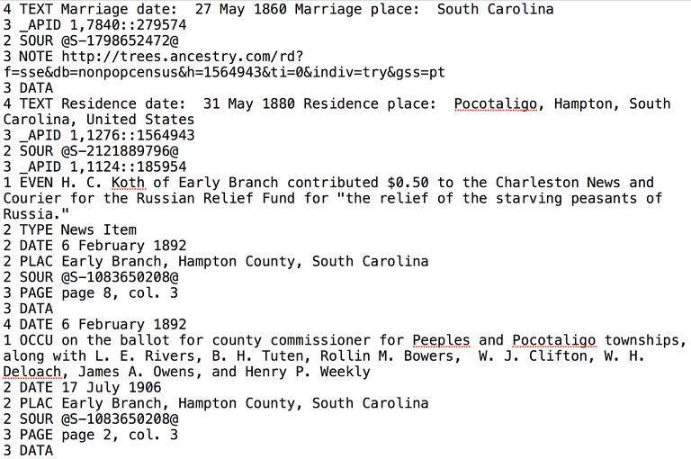 Example of a genealogy gedcom file