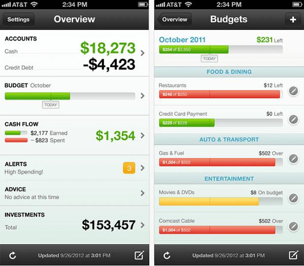 Mint app screenshot