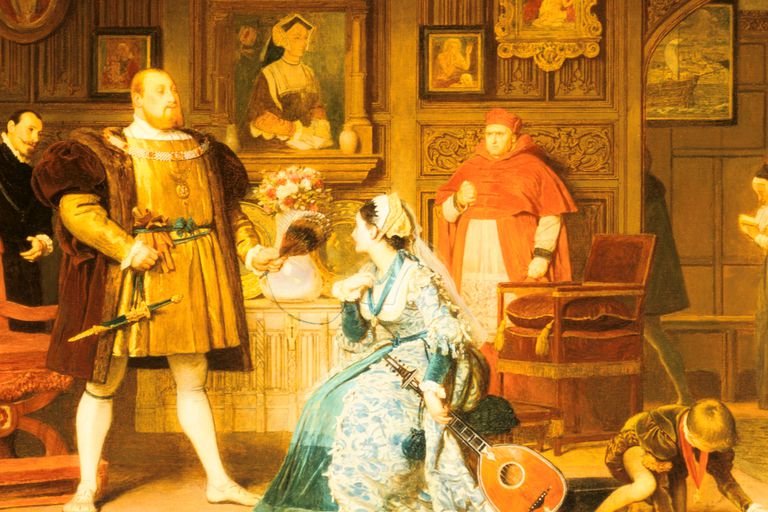 Henry VIII with Anne Boleyn, with Catherine of Aragon (in painting) and Cardinal Wolsey, from a painting by Marcus Stone (detail)