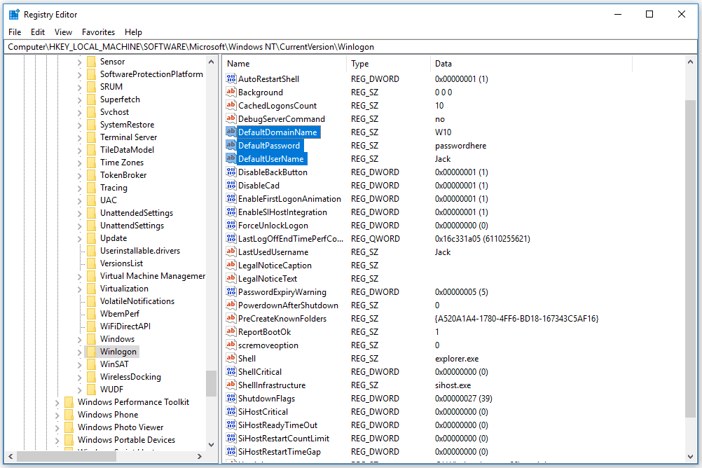 Screenshot of the Windows 10 registry with DefaultDomainName, DefaultUserName, and DefaultPassword highlighted