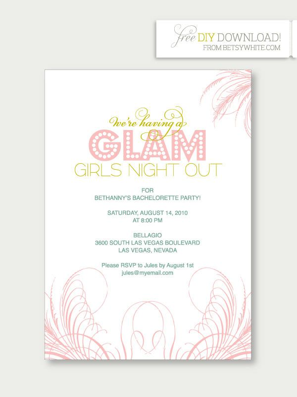 A Green And Pink Bachelorette Party Invitation