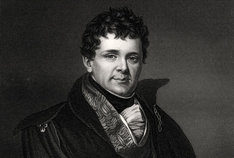 Engraved portrait of Irish political leader Daniel O'Connell