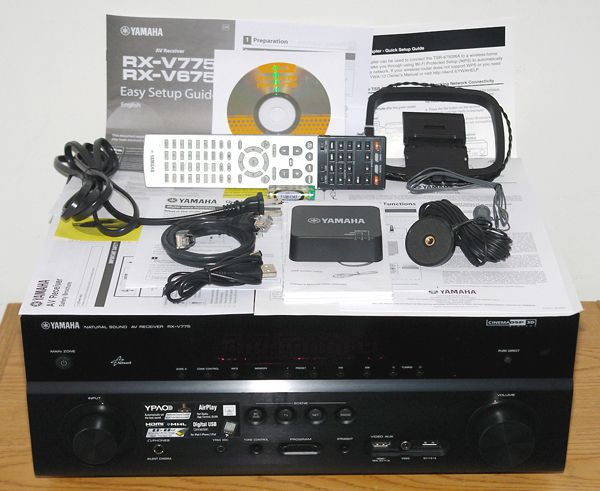 Yamaha RX-V775WA Home Theater Receiver - Photo - Front View with Included Accessories