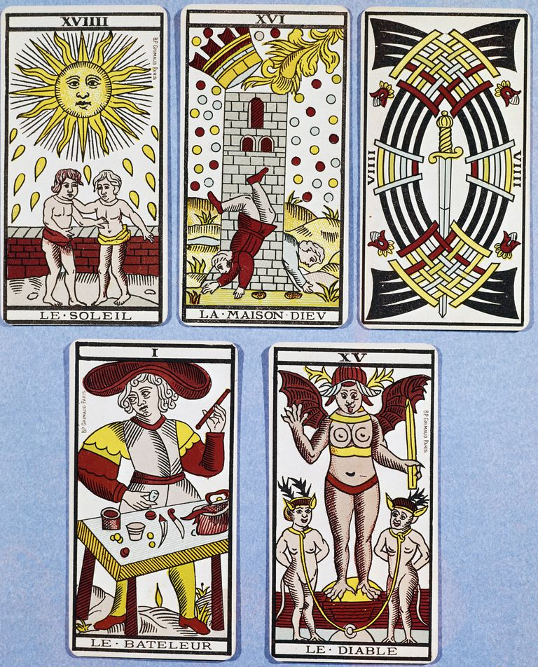 The Sun, the House of God (the Tower), the Nine of Swords, the Magician and the Devil, French Tarot cards, France, 17th century