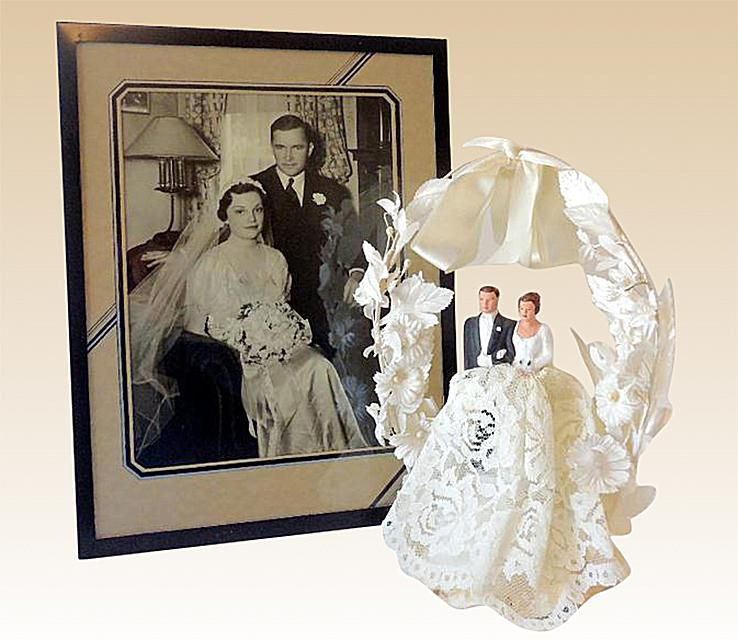 1940s Wedding Cake Topper and Original Framed Wedding Photo of the Happy Couple