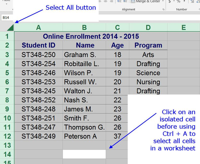 Excel Shortcuts to Select Rows Columns or Worksheets – Or Worksheets