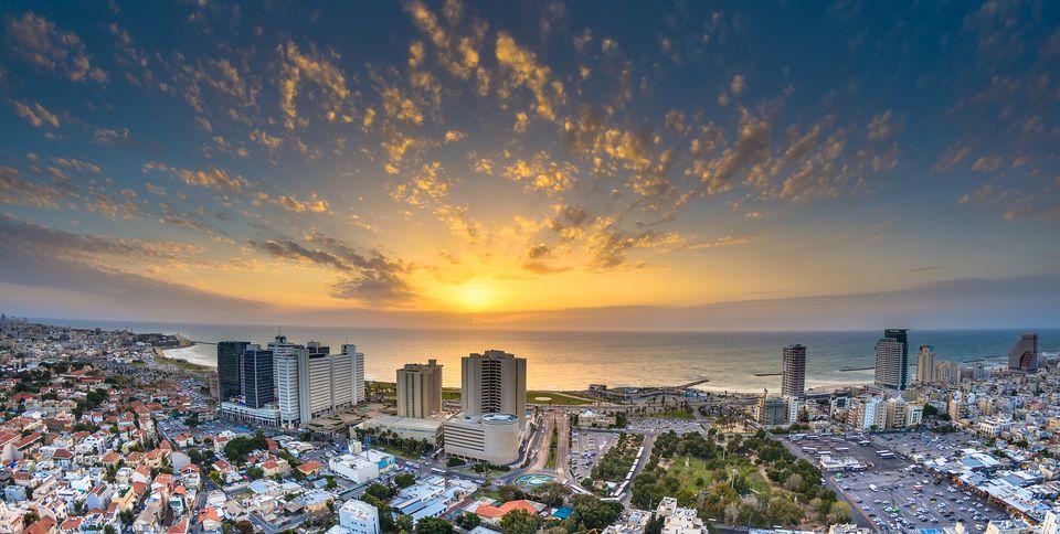Sunset over Tel-Aviv Beach