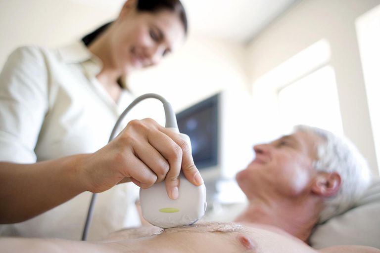 Senior patient undergoing heart ultrasound scan