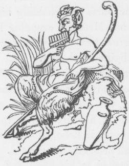 An image of the god Pan, from Keightley's Mythology, 1852.