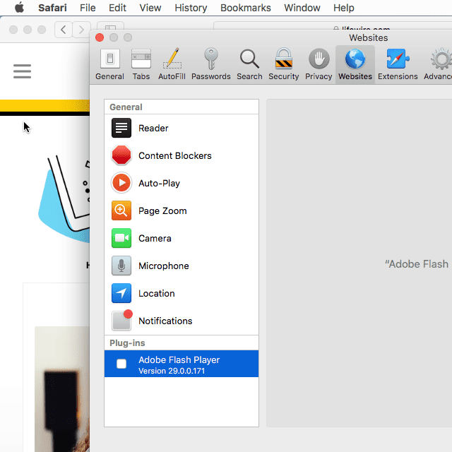 Screenshot of the Safari plug-ins window on macOS High Sierra that shows the Adobe Flash Player version number