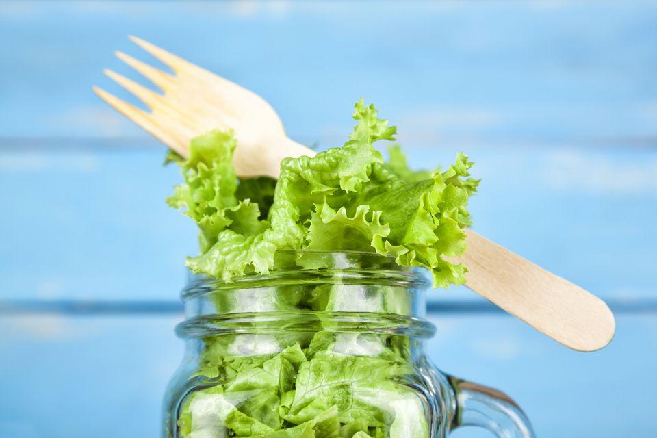 Lettuce in mason jaw