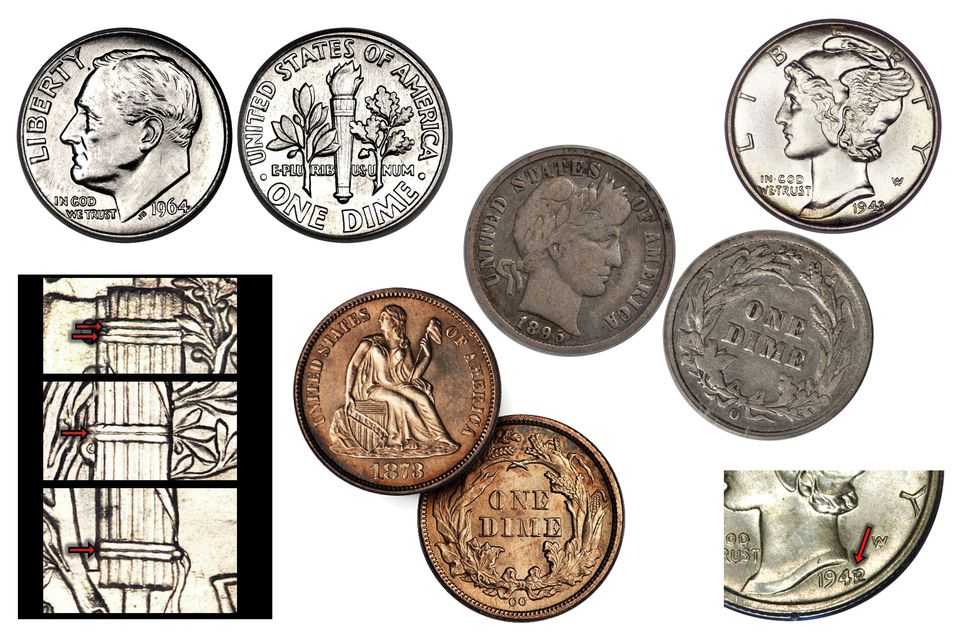 Various United States dimes