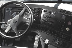 Interior view of dashboard of semi truck