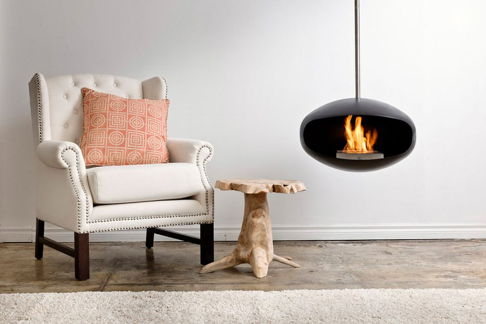 A ceiling mounted ethanol fireplace.