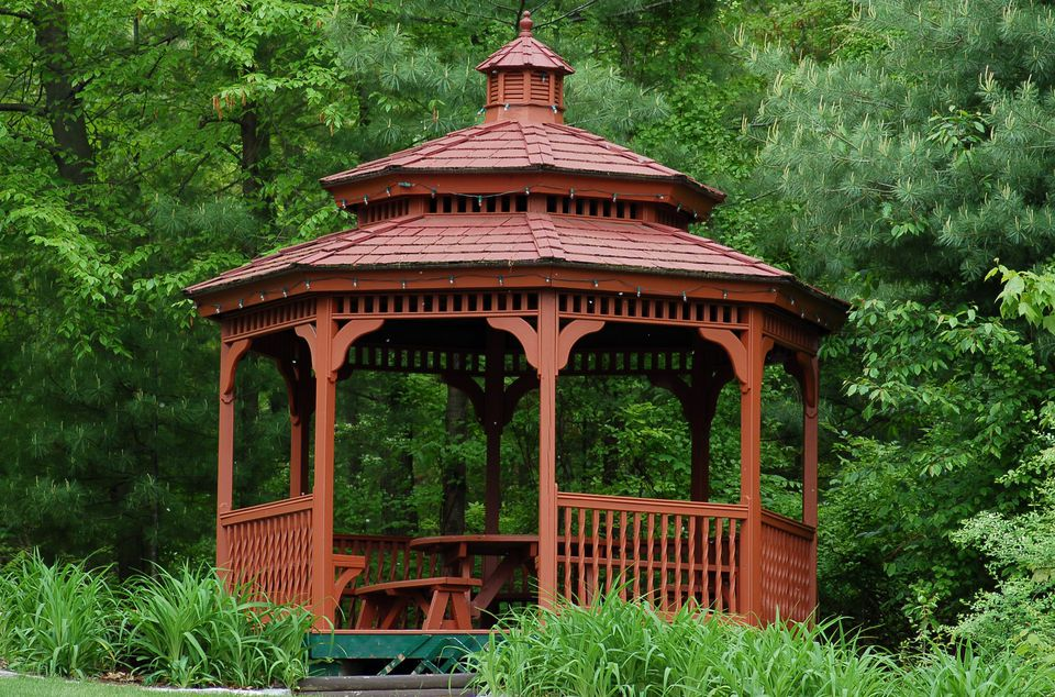 Image: brown gazebo.