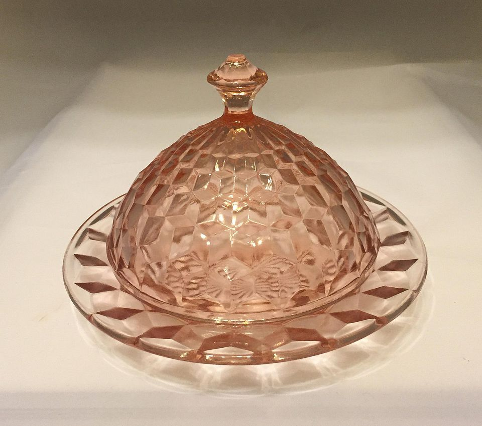 Jeannette Glass Company - ca. 1929-1933, Cube or Cubist Pink Depression Glass Butter Dish