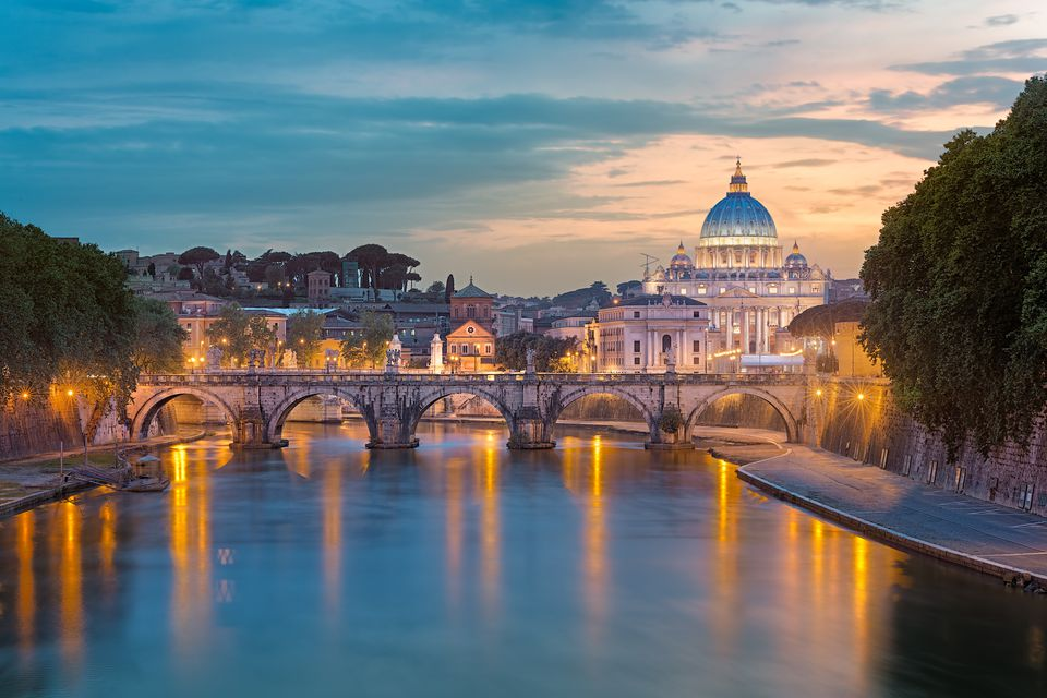 Italy, Rome, St. Peters Basilica at sunset