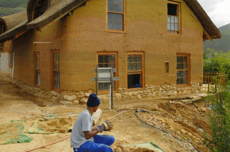 Cob house under construction, Greyton, Western Cape Province, South Africa.