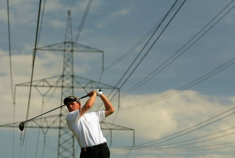 Luke Donald Tees Off In The Shadow Of Huge Power Cables At Eichenried Golf Club