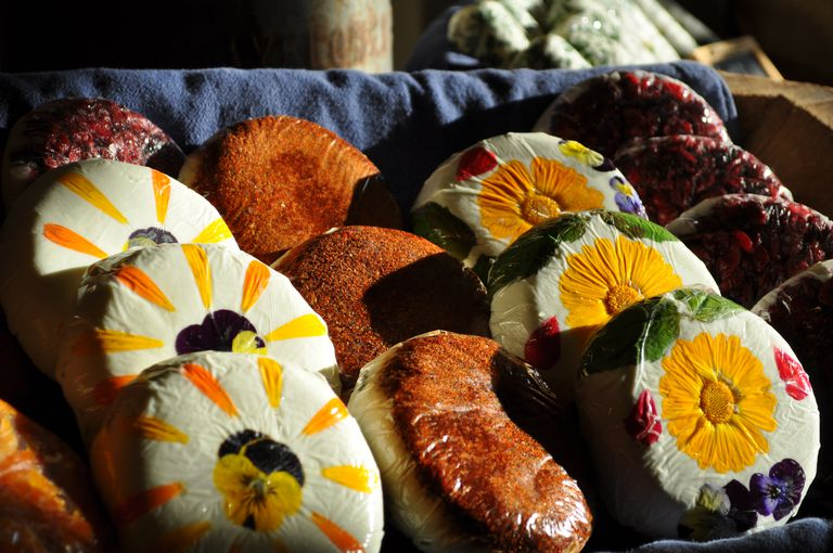 Goat Cheese Decorated With Flowers and Coated in Spice